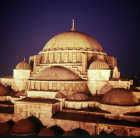 Turkey Istanbul illuminated dome of the Suleymaniye Mosque built by Sinan in 16th century