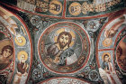 Christ Pantocrator, eleventh century, in dome of Karanlik Kilisesi (Dark Church) Goreme, Cappadocia, Turkey