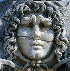 Head of Apollo sculpted in marble, in vicinity of Temple of Apollo, Didyma, Turkey
