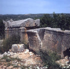 Two sarcophagi in Christian necropolis dating from fourth and fifth centuries AD, ancient Elaiussa Sebaste, Turkey