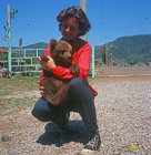 Turkey, Marmaris, bear cub brought down from the mountains after mother was shot