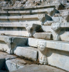 Turkey, Aphrodisias carved seat ends in the odeon