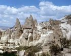 Panorama of cones near Goreme Valley, Cappadocia, Turkey