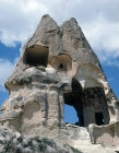Turkey, Cappadocia, rock cut churches showing mural where tufa has fallen away,  Ninnazan el Nazar Kilise 10th century