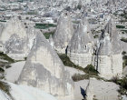 Turkey, Cappadocia,   cones used as store houses at Avcilar