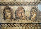 Three theatrical masks, third century mosaic, Archaeological Museum, Antioch, Turkey
