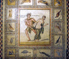 Antiope siezed by a satyr, surrounded by bird border, third century, Gaziantep, Zeugma mosaic museum, Turkey