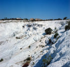 Turkey Pamukkale calcite covered slope below old Roman baths