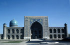 Uzbekistan, Samarkand, Tillya Kari Madrasa, exterior view, decorative tilework