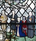 Historic portraits, 20th century stained glass, Church of St John the Baptist, Little Missenden, Buckinghamshire, England, Great Britain