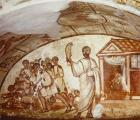 Samson puts Philistines to rout, 4th century wall painting, Via Latina Catacombs, Rome, Italy